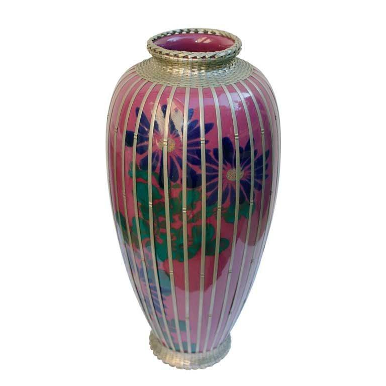 Japanese silver plate overlay basket weave pottery vase