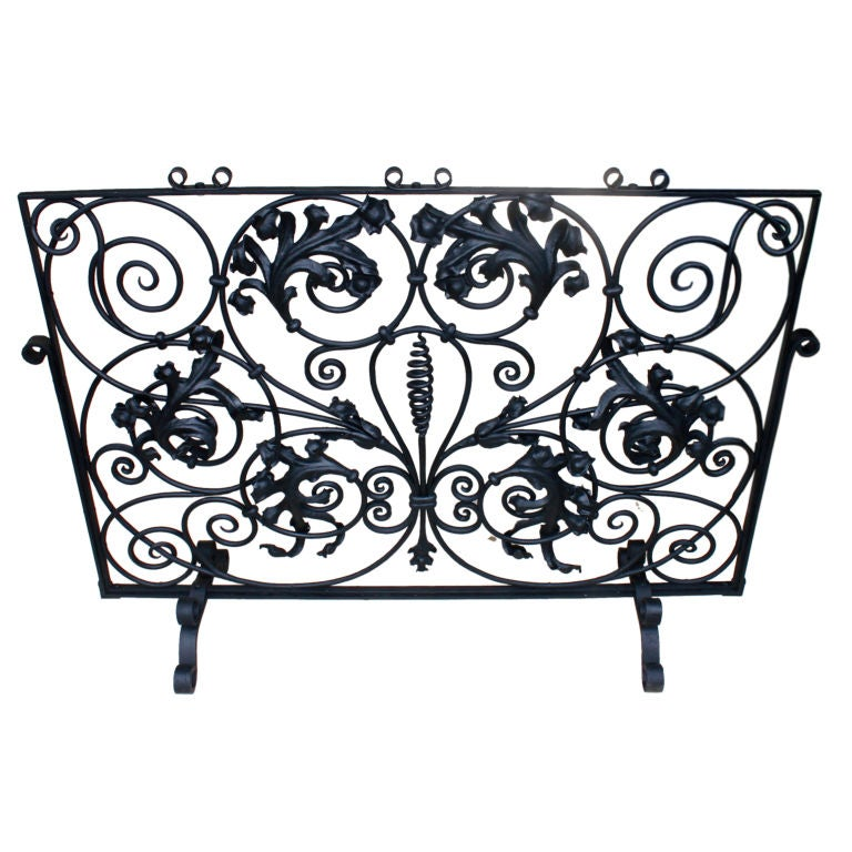 Ornate High Quality Period Art Deco Iron Fire Screen At 1stdibs