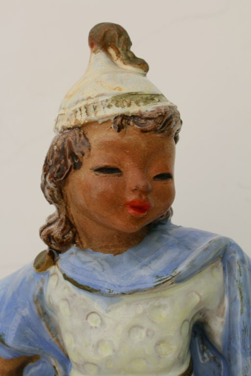 Austrian Secessionist Terracotta Figure Signed 2
