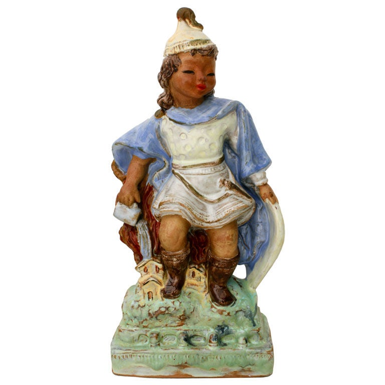 Austrian Secessionist Terracotta Figure Signed For Sale