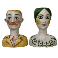 Pair of Horchow retailed Italian Head Vases