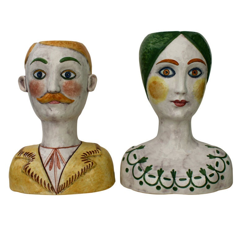 Pair Of Horchow Retailed Italian Head Vases At 1stdibs