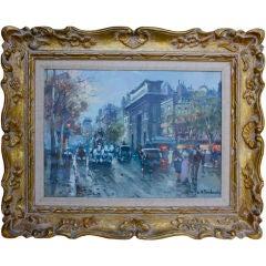 Antoine Blanchard Parisian street scene signed twice