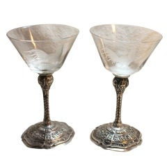 Nice Pair Of Silver  Sherry Or Cocktail Glasses Etched Rooster