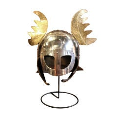 Movie prop steel and brass helmet
