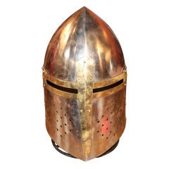 Middle age movie prop steel and brass helmet