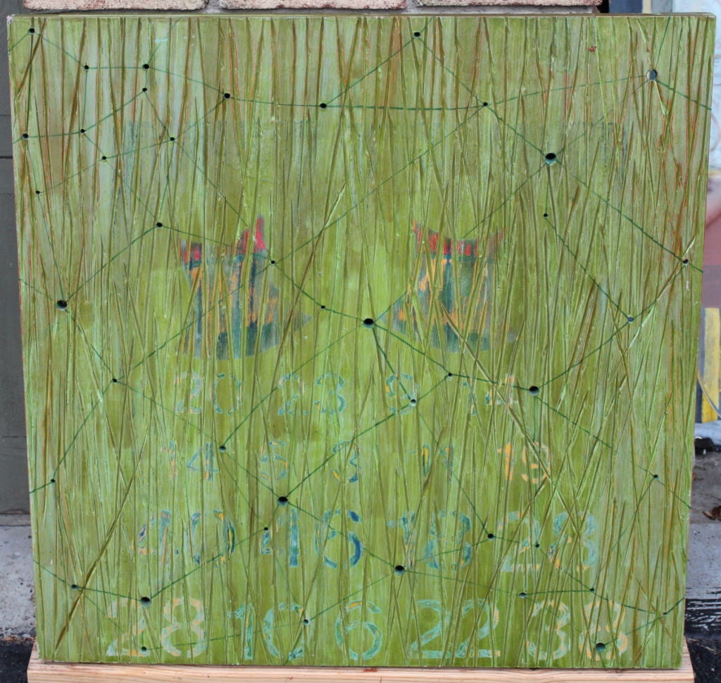 A wonderful oil on wood by the noted Los Angeles artist Dawn Arrowsmith. It bears a gallery label on the back and is titled and dated Position II 1990. It has holes drilled though the wood panel. Please take a moment to visit our art gallery on