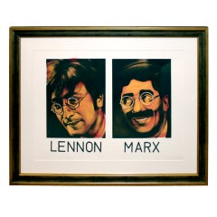 Paint on Paper by Ron English of John Lennon and Groucho Marx