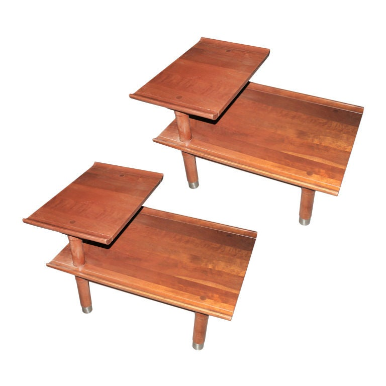 Pair Willett Furniture Trans East Solid Cherry Side End Tables at