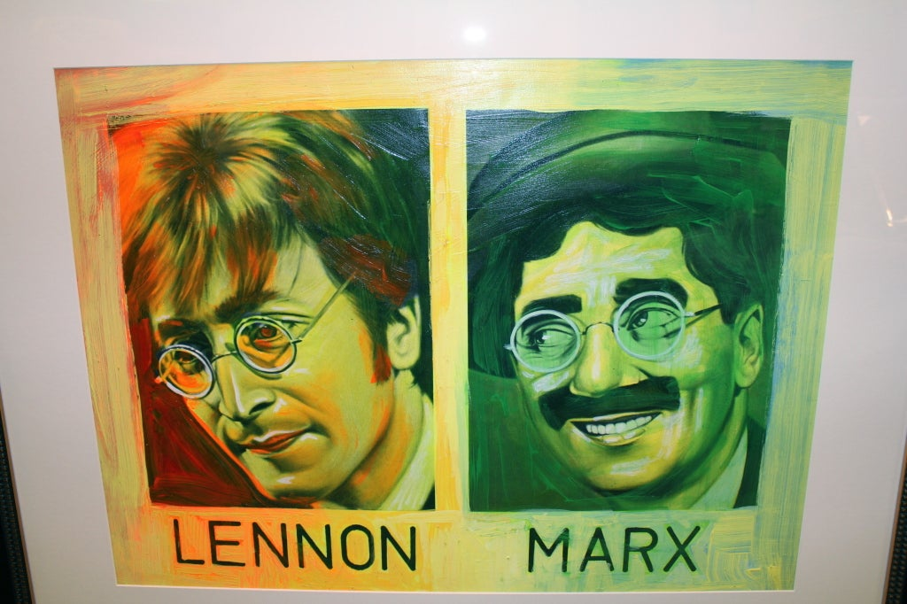 American Painted Silkscreen of John Lennon & Groucho Marx by Ron English For Sale