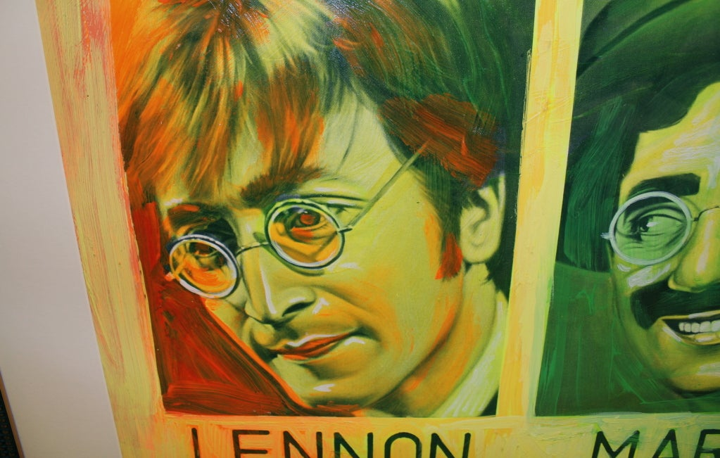 20th Century Painted Silkscreen of John Lennon & Groucho Marx by Ron English For Sale