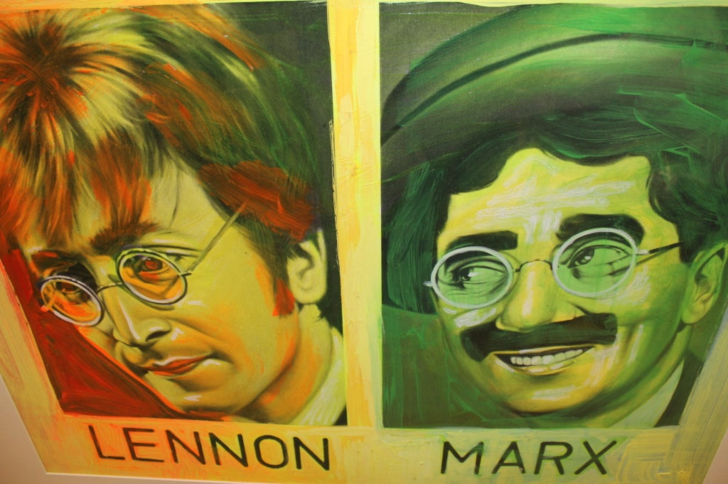 Painted Silkscreen of John Lennon & Groucho Marx by Ron English For Sale 3