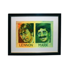 Painted Silkscreen of John Lennon & Groucho Marx by Ron English