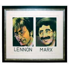 silkscreen w/ paint of John Lennon & Groucho Marx by Ron English