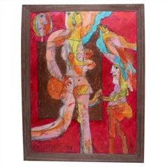 Norman Laliberte Mixed-Media Abstract, 1974