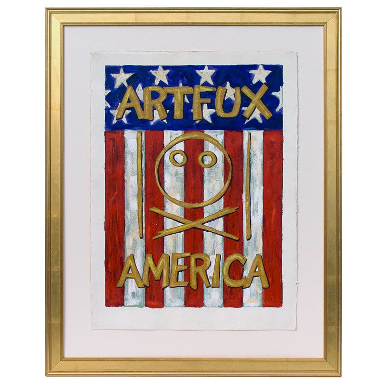 Early 1990s Painting on Paper by the Group Artfux For Sale