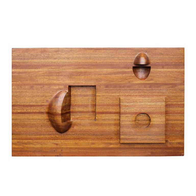 Elegant abstract carved laminated wood wall sculpture for for Laminated wood for sale