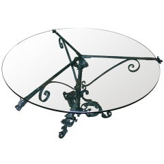 Iron table in the manner of Samuel Yellin w/ dragon