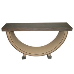 Cerused Oak And Leather Clad Console Table