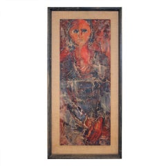 Nice abstract oil on board of a woman signed Helen Cable.