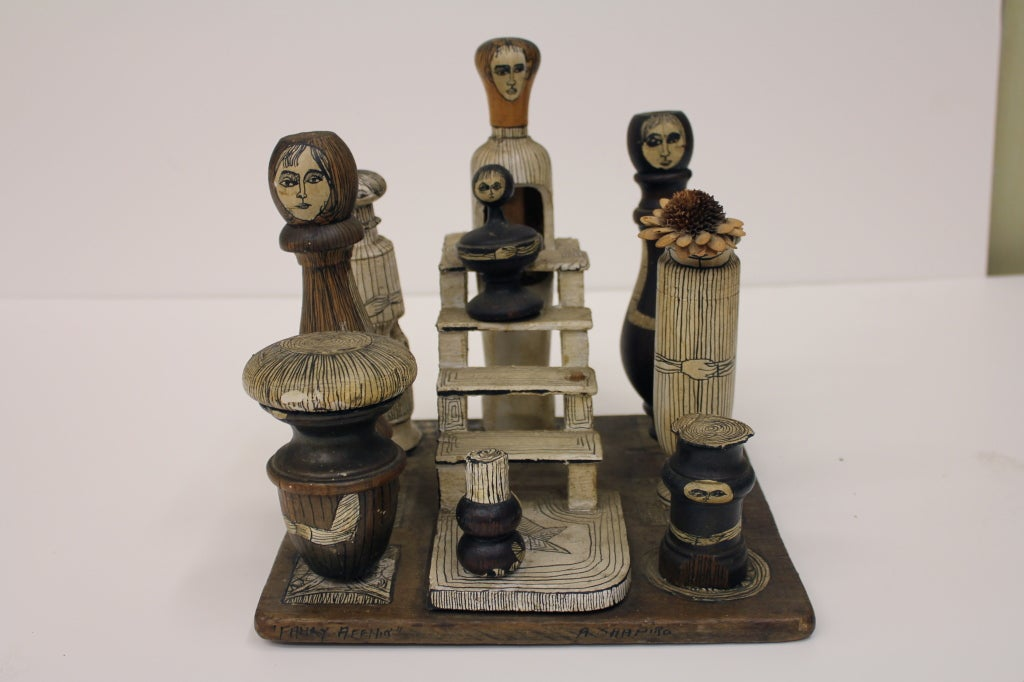 "1930-40's American Folk Art Sculpture ""Family Affair"" by Shapiro image 2"
