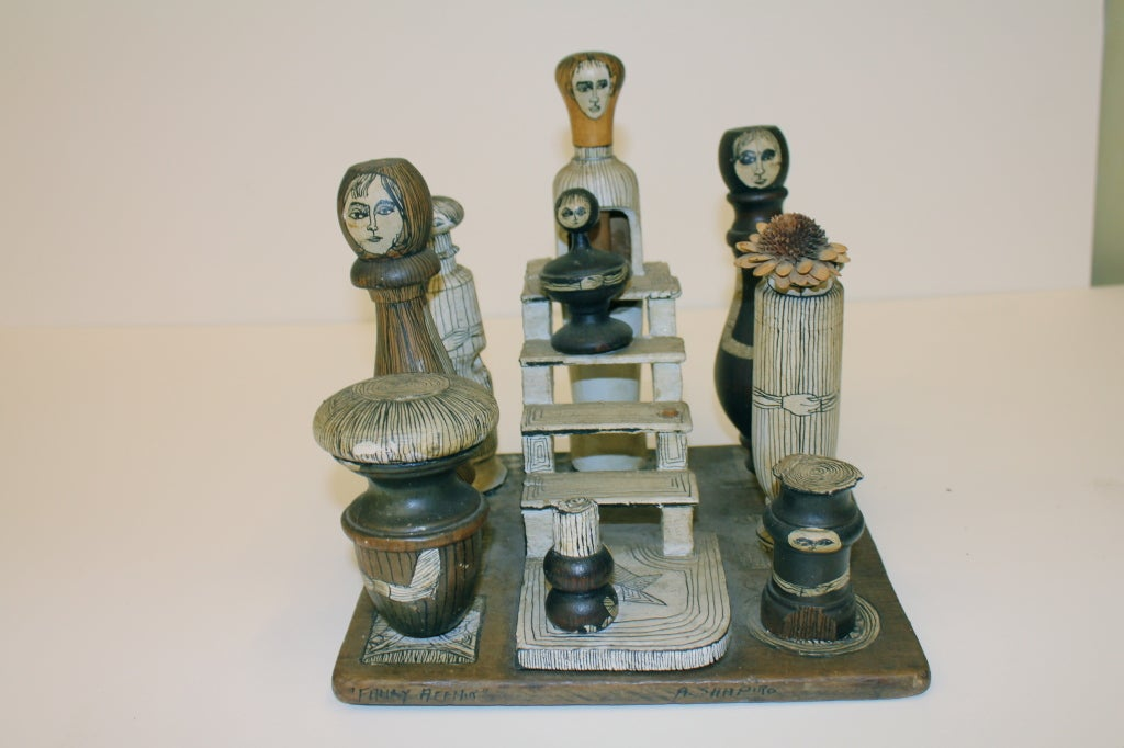 "1930-40's American Folk Art Sculpture ""Family Affair"" by Shapiro image 3"