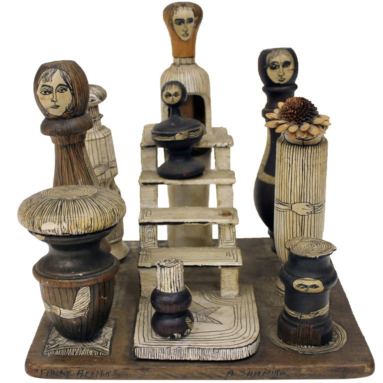 "1930-40's American Folk Art Sculpture ""Family Affair"" by Shapiro"