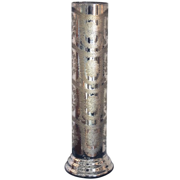 Mercury Glass Cylinder Vase At 1stdibs