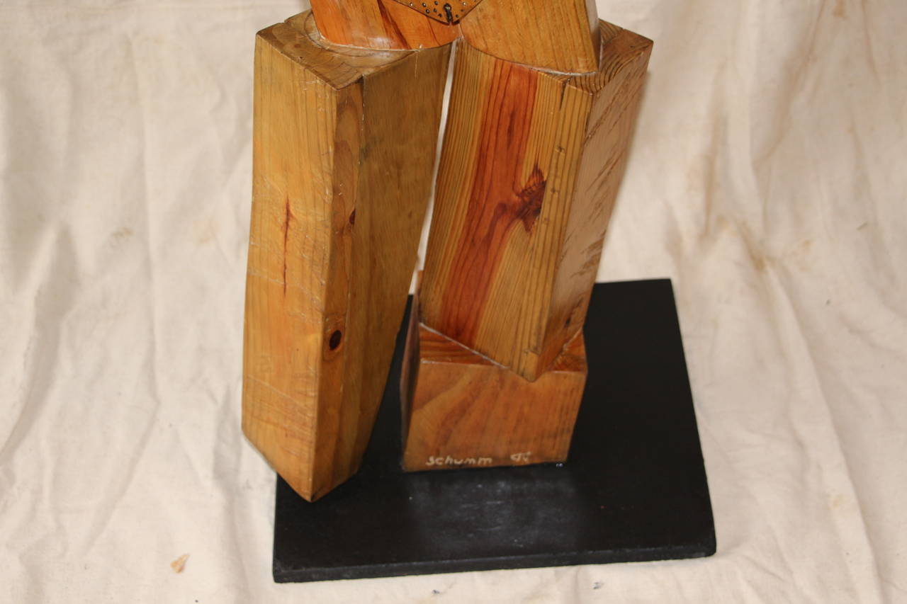 Folk Art Whimsical Wood Sculpture by Noted Artist Fred Schumm For Sale