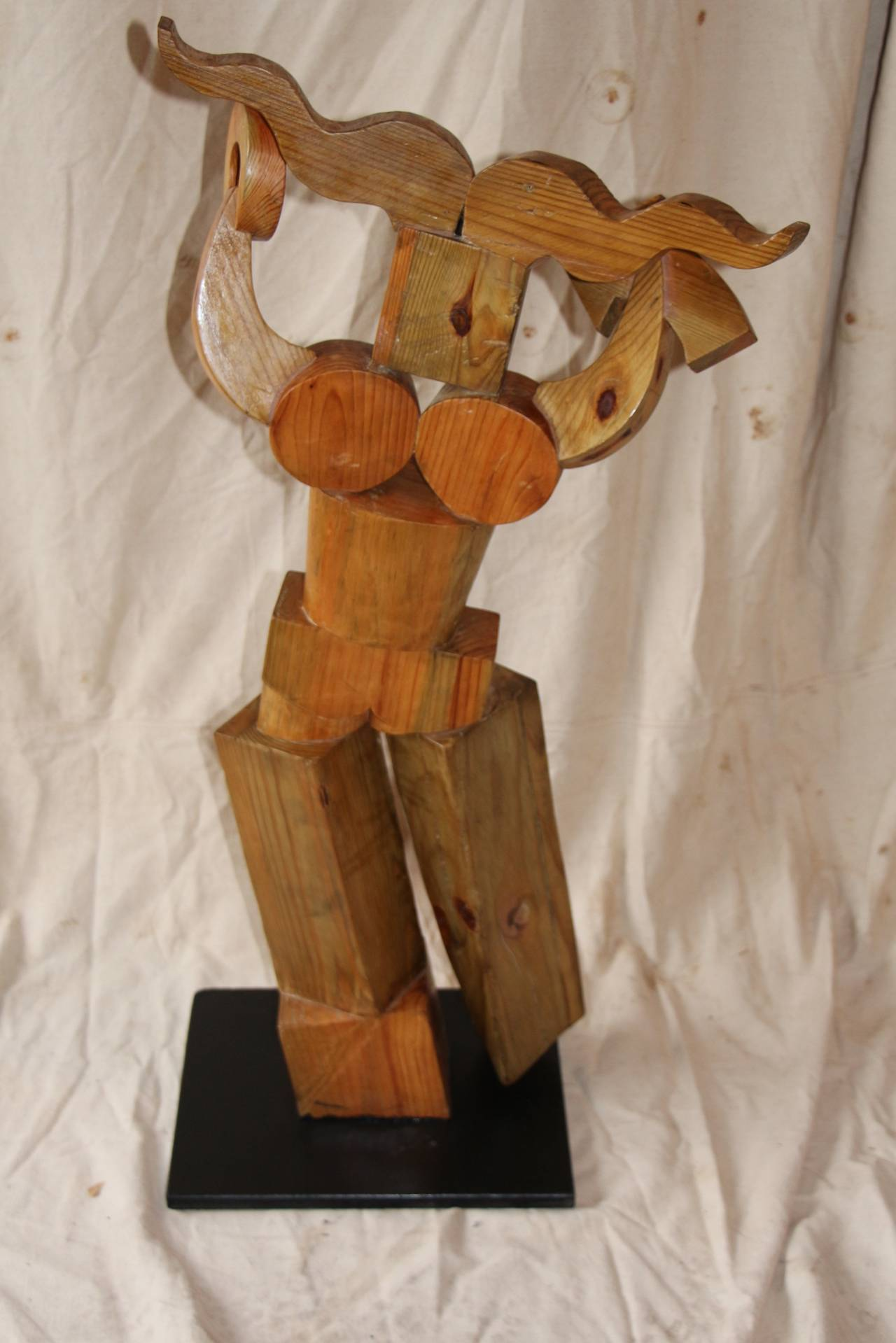 Whimsical Wood Sculpture by Noted Artist Fred Schumm In Good Condition For Sale In Palm Springs, CA
