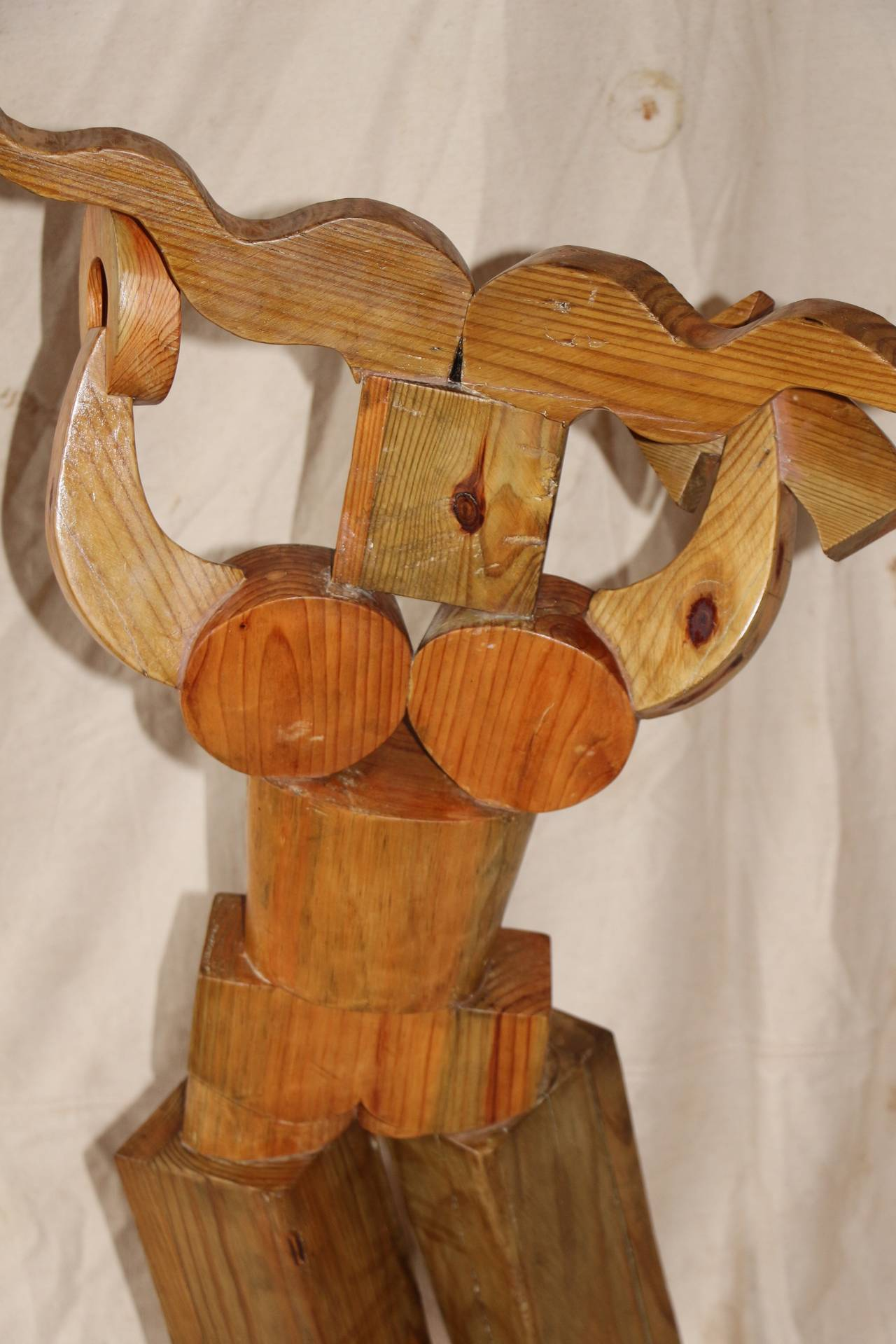 Late 20th Century Whimsical Wood Sculpture by Noted Artist Fred Schumm For Sale