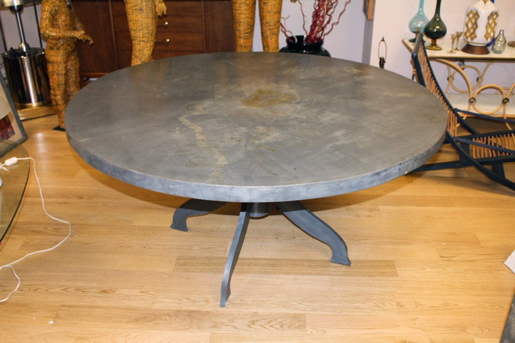 Large Round Galvanized Steel Custom Dining Center Hall Table Image 2