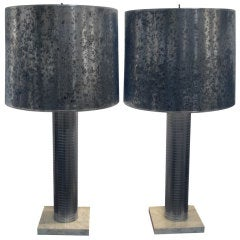 Unusual Etched Steel Lamps With Original Oil Spot Shades