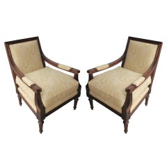 Nice pair of upholstered Hickory chairs