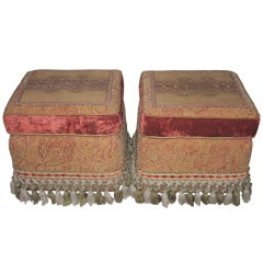 Pair of Tapestry Top Upholstered Ottomans or Stools