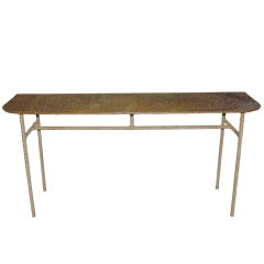 Unusual Copper Clad Console Top Leather Wrapped Legs