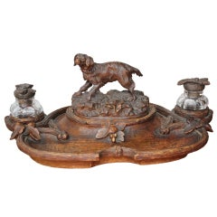 Nice Black Forest Inkwell with Carved Dog