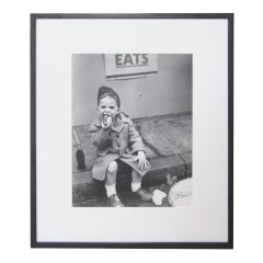 Nat Fein Silver Gelatin Photograph of a Boy Eating a Hot Dog