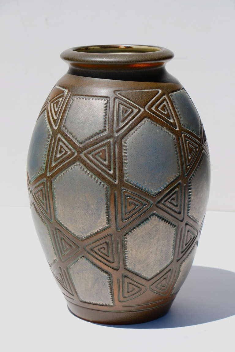 joseph mougin art deco metallic glazed pottery vase for sale at 1stdibs. Black Bedroom Furniture Sets. Home Design Ideas