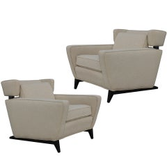 Pair of Unusual Wing Chairs on Sleigh Legs