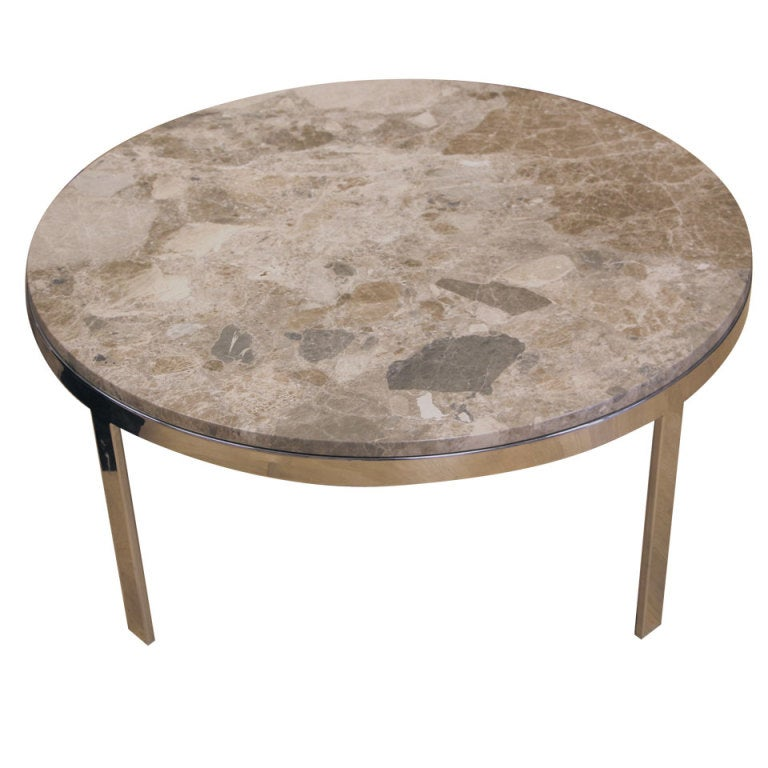 Marble Top Chrome Base Round Coffee Table At 1stdibs