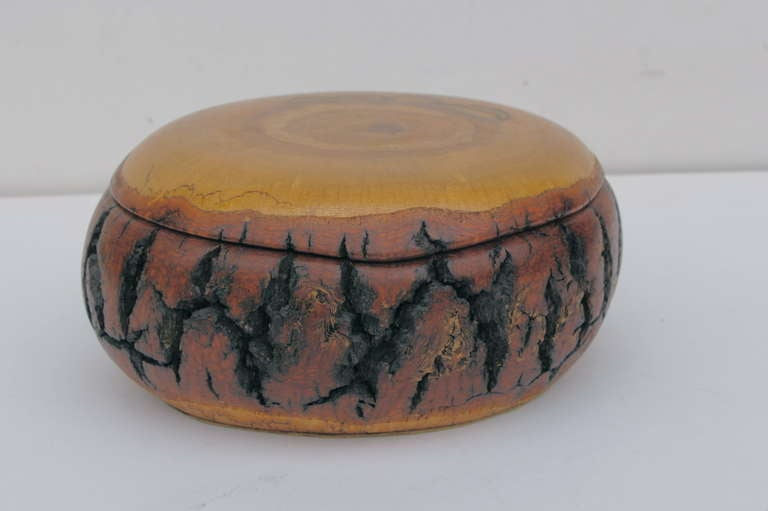 Hand Turned Wood Bowl Box With Fitted Cover For Sale At