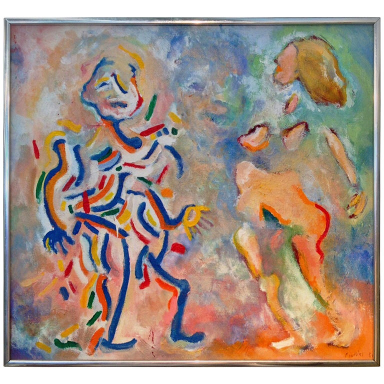 Colorful Abstract Signed Finkler For Sale