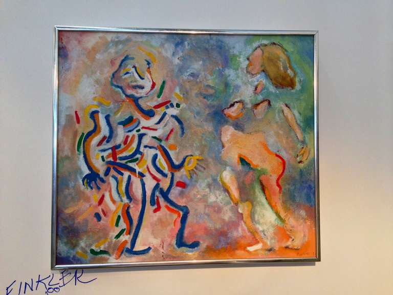 A whimsical abstract painting in a silver frame signed lower right Finkler 8?.