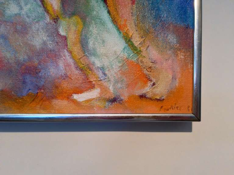 Unknown Colorful Abstract Signed Finkler For Sale