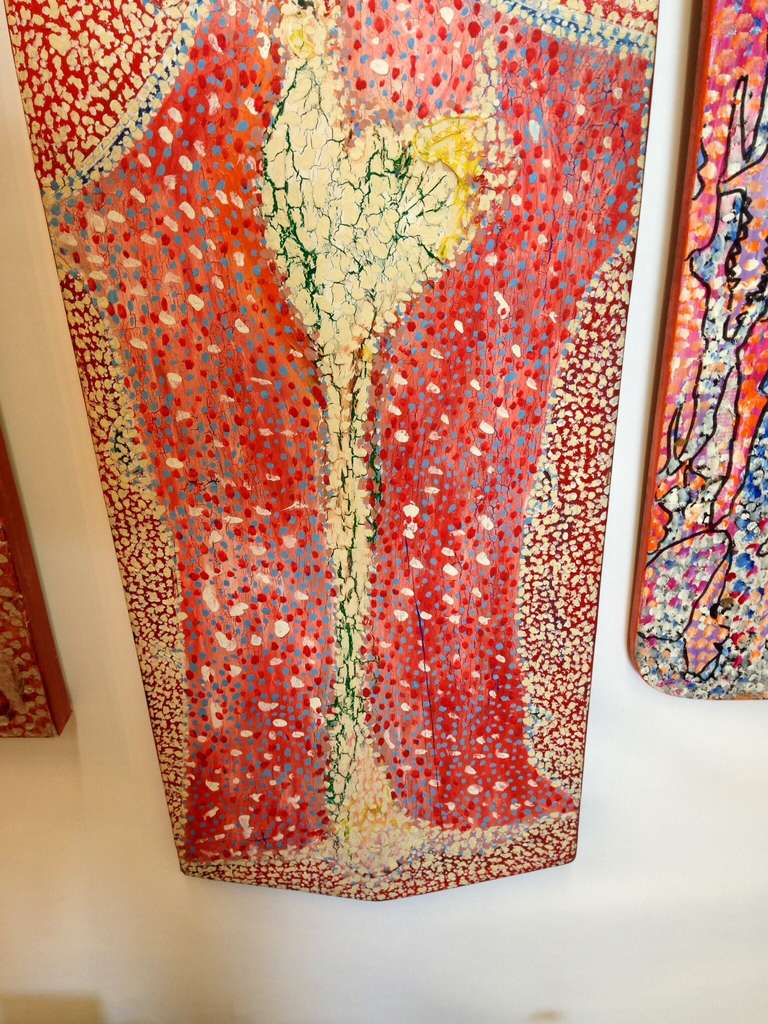 American Pair of Outsider Art Painted Ironing Boards by Michael Heinrich For Sale