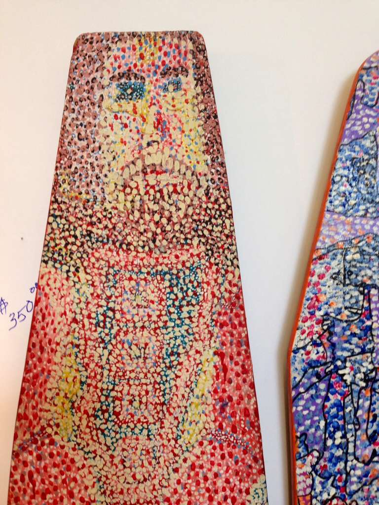 Pair of Outsider Art Painted Ironing Boards by Michael Heinrich In Good Condition For Sale In Palm Springs, CA