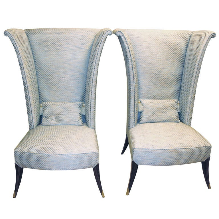 Great Wing Back Chairs In Beautiful Fabric At 1stdibs