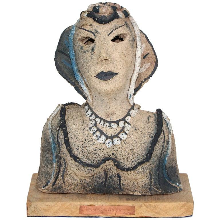 Dama a la Noche 1985 ceramic by Gadu For Sale