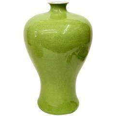 Asian lime green crackle glaze signed large vessel